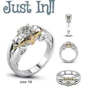 🆕️💀NWT Ladies 925 White Sapphire Skull ring sz10